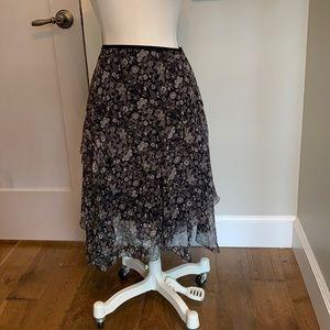 Ellie Tahari silk chiffon bias cut ruffles skirt